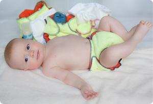 Baby wearing Wonderwear cloth diaper