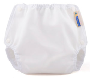 White Cloth Diaper Cover with Snap Closures