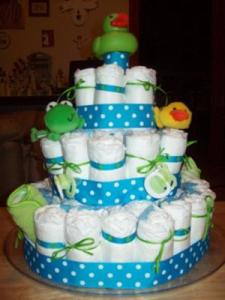 green-and-blue-frog-diaper-cake