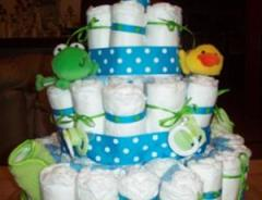 Say no to diaper cakes! Consider cloth diaper service gift certificates for your registry or as a baby shower gift.